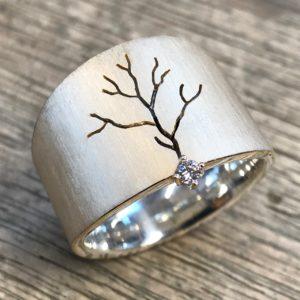 Ring Silber Baum