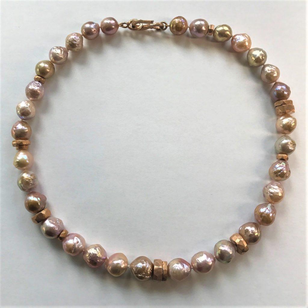 Collier Perlen mit Zwischenteile Silber rotvergoldet